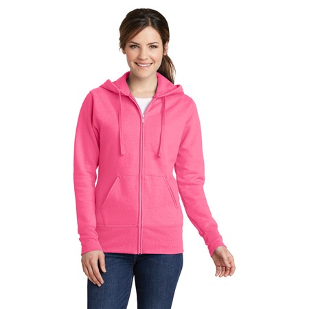PINK Promo - Port and Company Ladies Classic Full-Zip Hooded Sweatshirt. LPC78ZH