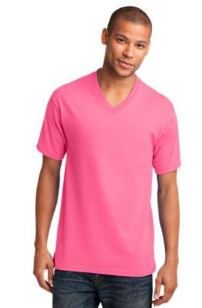 PINK Promo - Port and Company 5.4-oz 100% Cotton V-Neck T-Shirt. PC54V