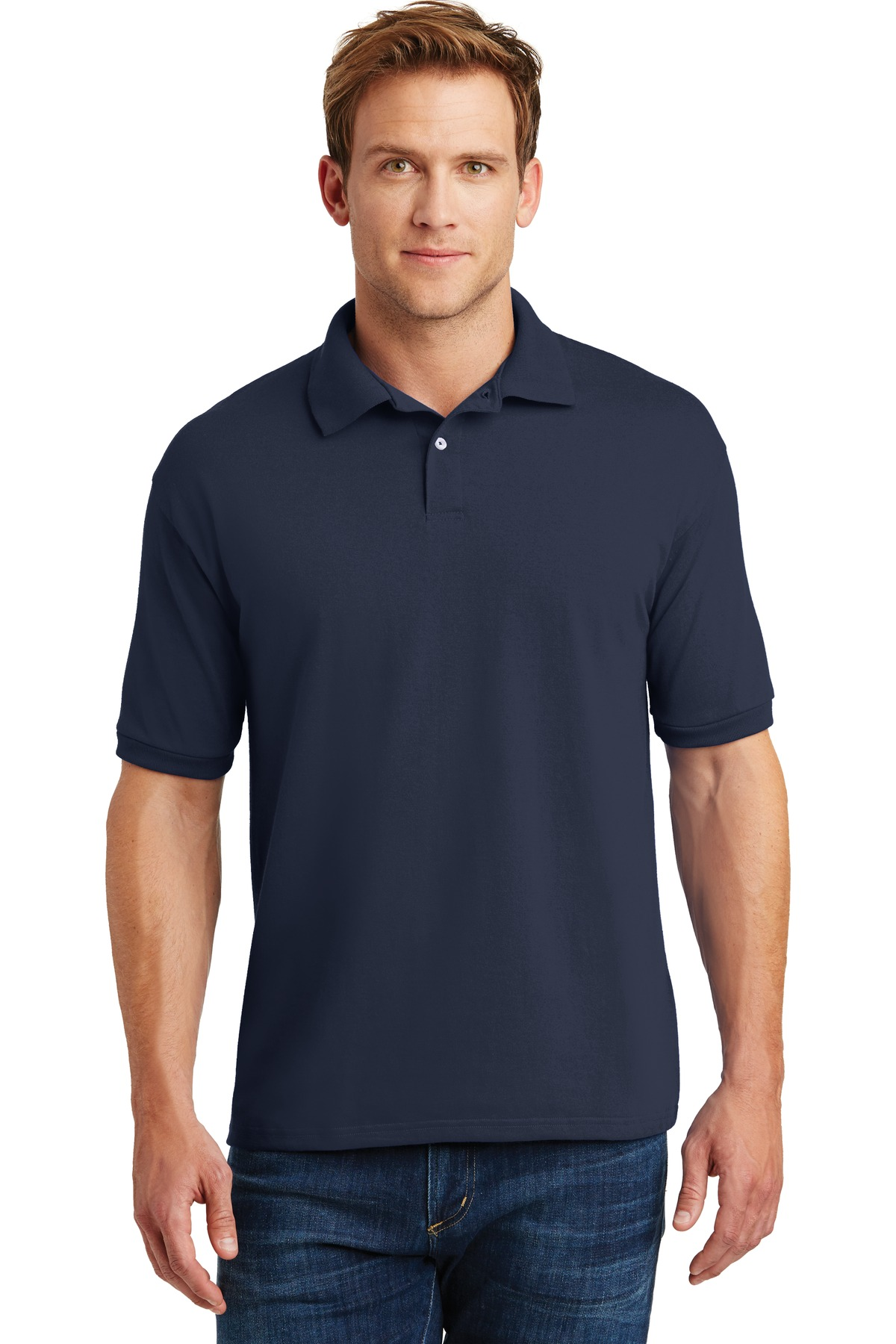 Hanes  EcoSmart  - 5.2-Ounce Jersey Knit Sport Shirt. 054X