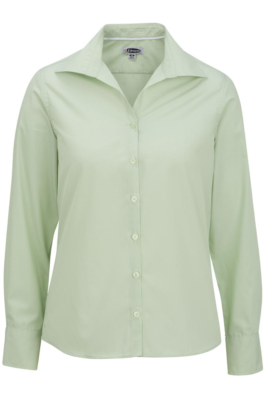 Ladies' Lightweight Open Neck Poplin Blouse-Long Sleeve 5295