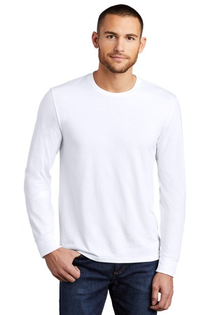 District Made  Mens Perfect Tri  Long Sleeve Crew Tee . DM132