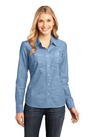 District Made - Ladies Long Sleeve Washed Woven Shirt. DM4800