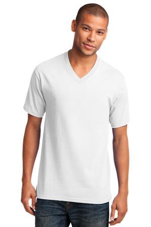 Port and Company 5.4-oz 100% Cotton V-Neck T-Shirt. PC54V