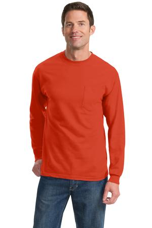 Port and Company Tall Long Sleeve Essential T- Shirt with Pocket. PC61LSPT
