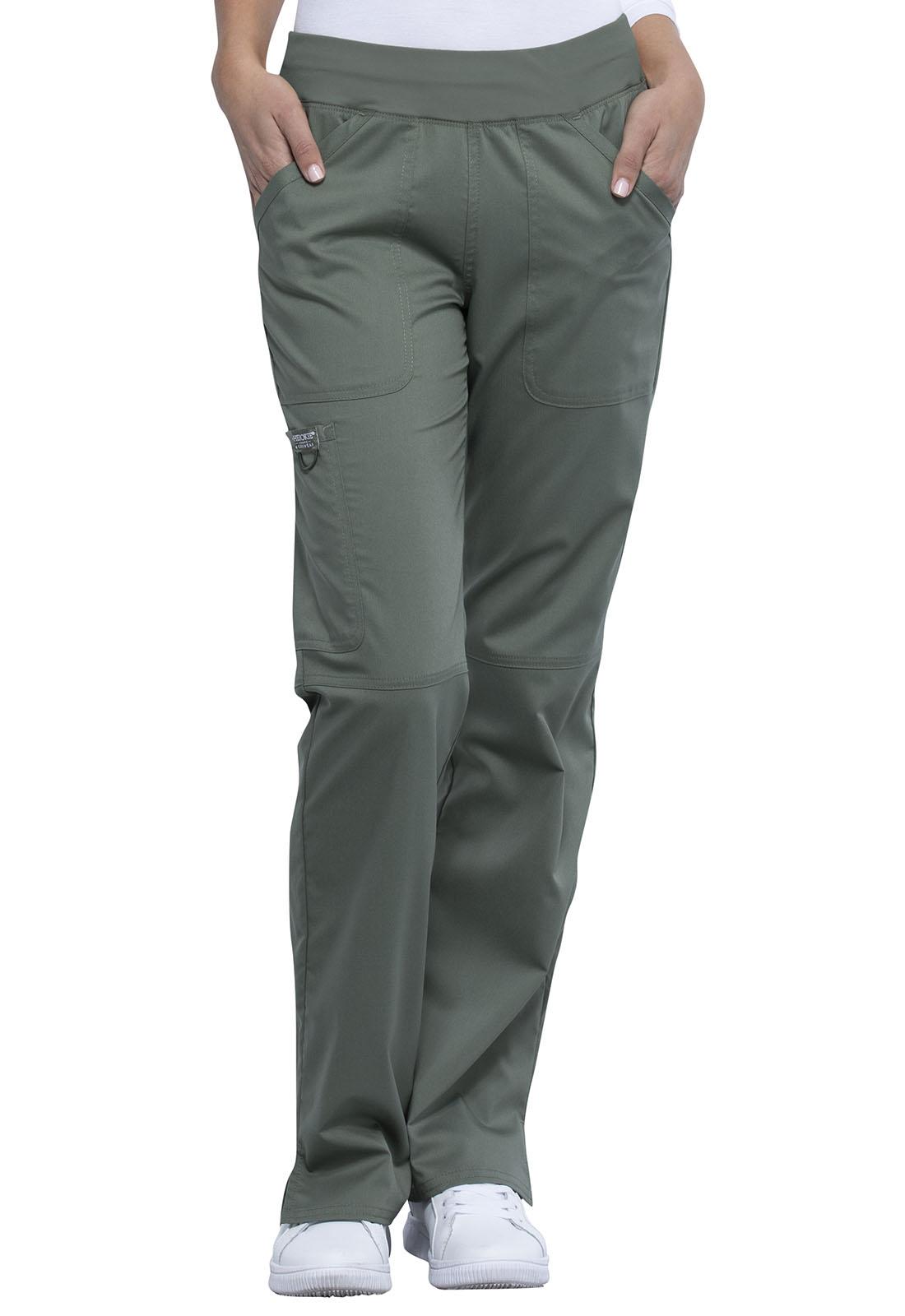 Cherokee Workwear Revolution Mid Rise Straight Leg Pull-on Pant Petite WW110P
